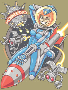 yobeeno, creative, brenton, wright, art, illustration, shirt, pinup, design, graphic, tee, comic, cartoon, funny, cute, cosmic, girl, space, retro, rocket, chick, robot, scifi, sci-fi, fantasy, babe,